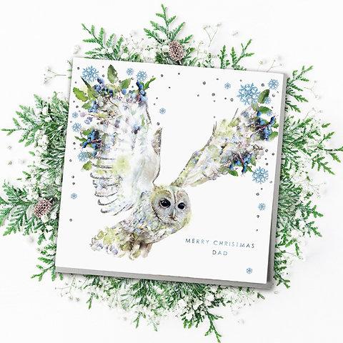 Christmas Owl.Merry Christmas Dad Owl Christmas Card