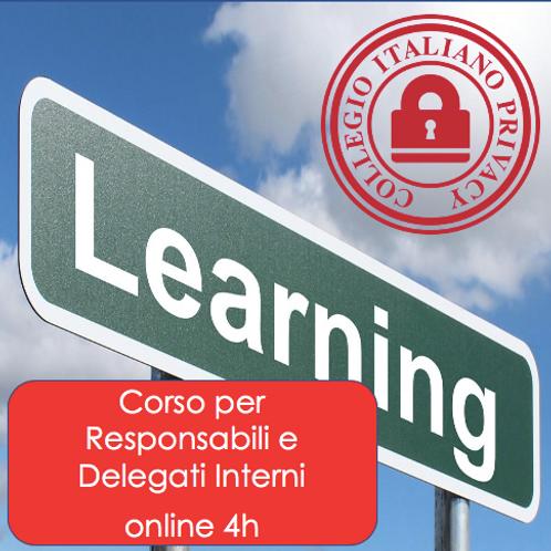 Corso GDPR per Responsabili e Delegati Interni (online di 4h)