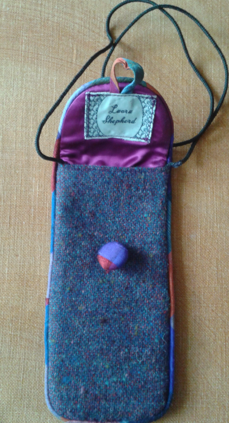Tweed glasses case in blue/pink hues