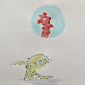 Pygmy Seahorse and Octopus Study