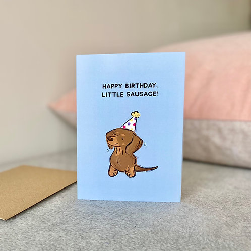 Happy Birthday Little Sausage Card