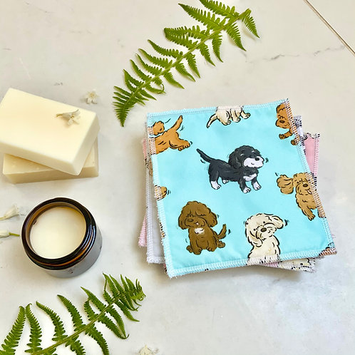 Turquoise Poos and Doodles Reusable Wipes