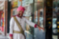 Doorman to a bakery in Jaipur, Rajastahn.  Travel Photographer