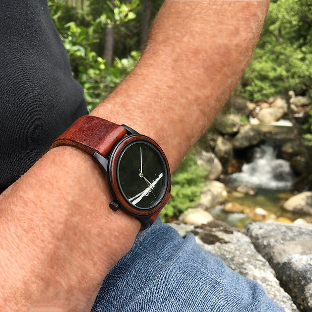 Artisan marble dial NERO Steel Veneto watch with natural tan leather
