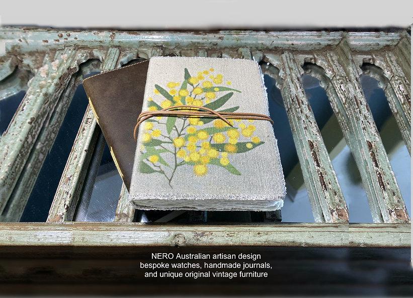 Hnadmade artisan canvas wattle journal by NERO Australia