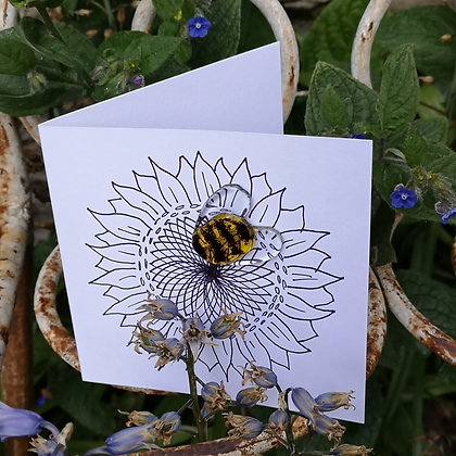 Fused Glass Bee Greeting Card
