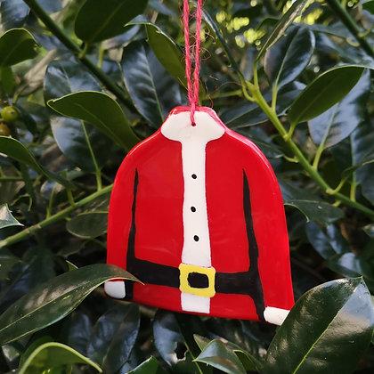 Fused Glass Santa Jumper Decoration