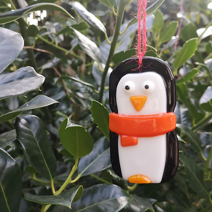 Fused Glass Penguin with scarf Decoration