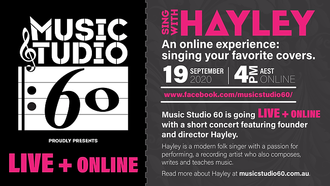 Sing with Hayley: Facebook Live concert 19 September 2020 4pm AEST