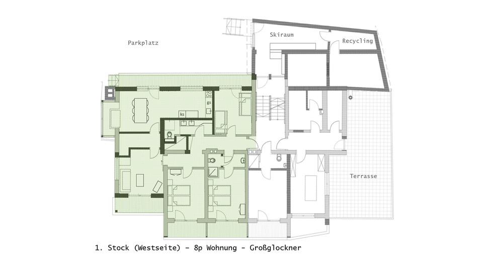 1. Stock - 8p Wohnung Hausplan