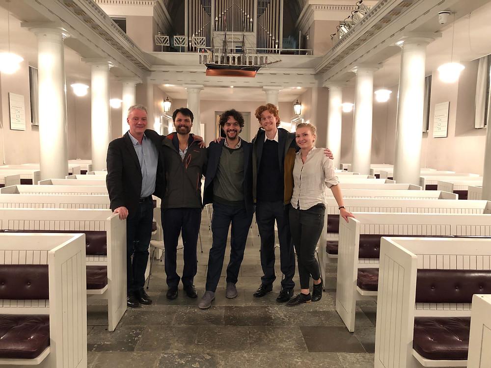 Friction Quartet poses with Henrik Brendstrup.