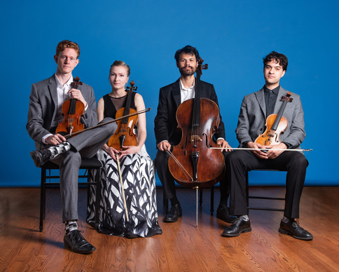 Friction Quartet is seated in a row with their instruments wearing formal attire.  Photo by Bonnie Rae Mills.
