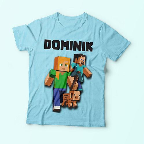 Minecraft inspired - feliratos póló, névvel