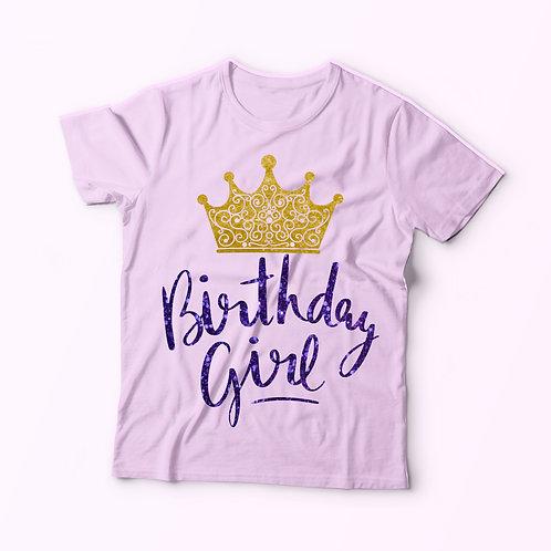 Szülinapos póló koronával -  feliratos póló lányoknak, glitteres