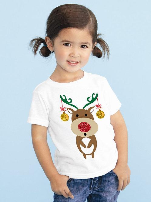 Rénszarvasos karácsonyi gyerek póló, csillogó díszekkel