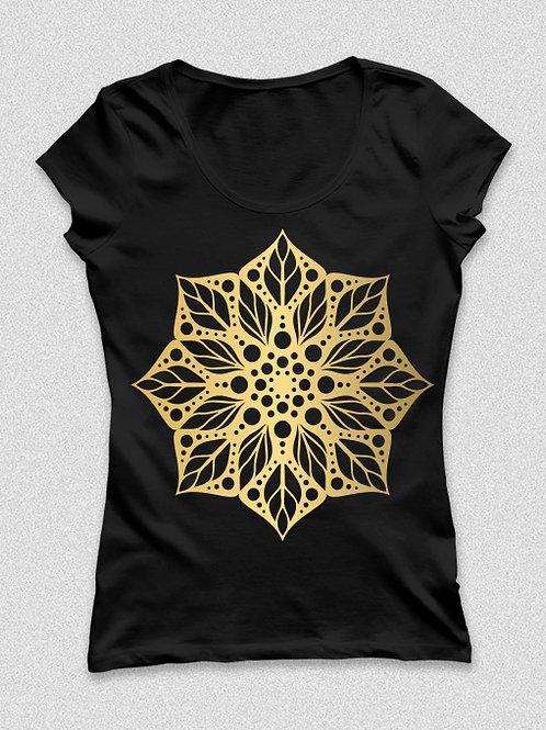 Kézzel készített, arany mandalás póló -  női póló