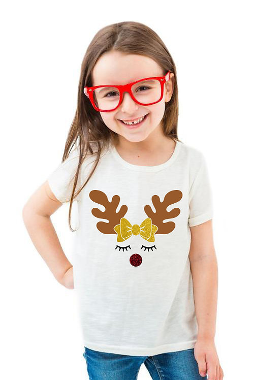 Rénszarvas lány csillogó masnival | karácsonyi gyerek póló
