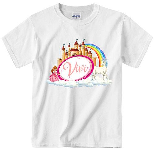 Hercegnős unikornisos póló névvel | egyedi gyerek póló