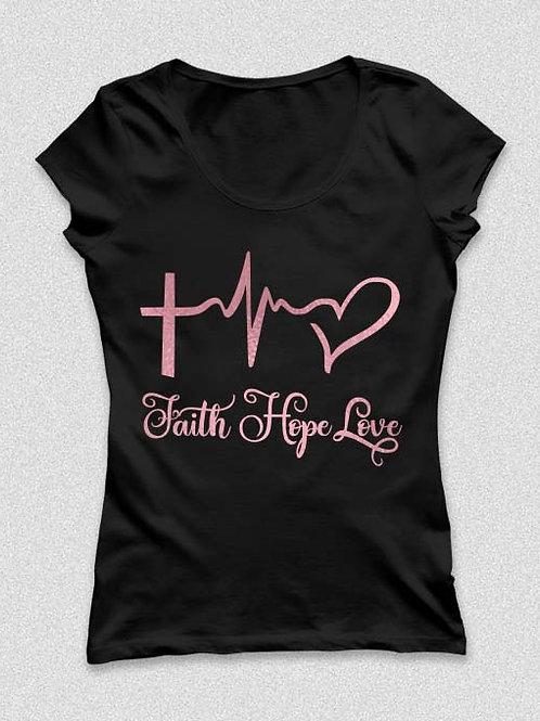 Faith Hope Love   póló - kereszt és szív póló