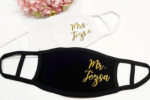 Mr and Mrs névvel -  egyedi maszk esküvőre, párban -  feliratos maszk