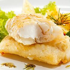 Baccalà fritto in crema di porri