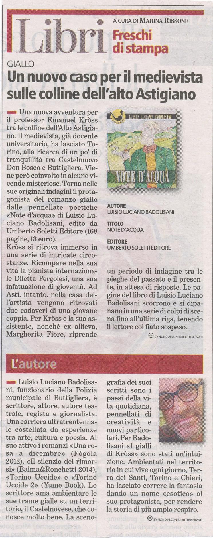 """Sulle pagine di Asti del numero in edicola oggi, 29 giugno 2017, vi segnaliamo questa bella recensione di """"Note d'acqua""""."""