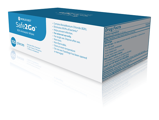 Safe2Go™ BZK Antiseptic Wipes - 100 pack