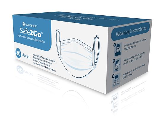 Safe2Go™ Non-Medical Disposable Masks - 50 pack