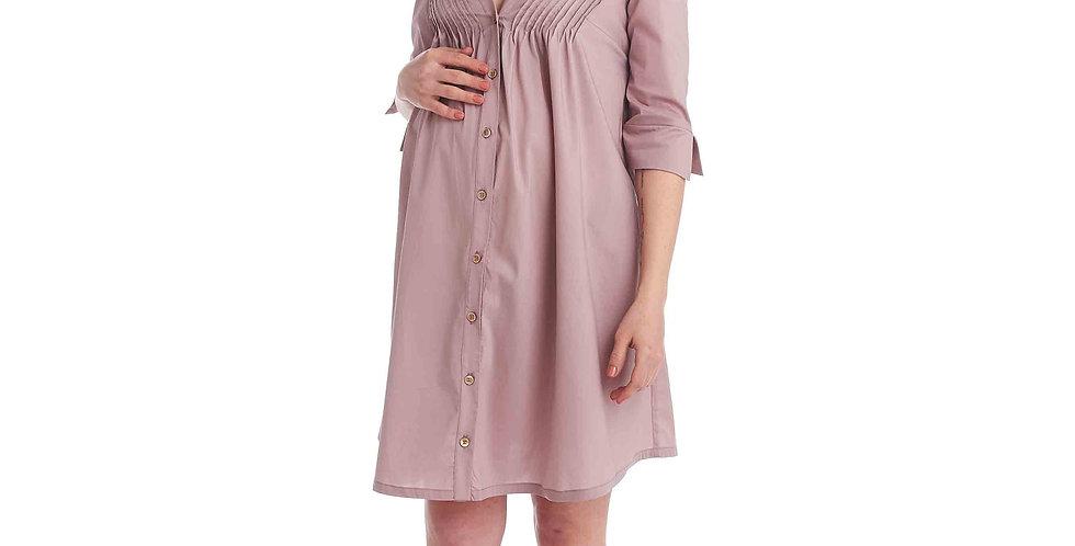 Розовое легкое платье со сборкой на груди на пуговицах SonoMamma