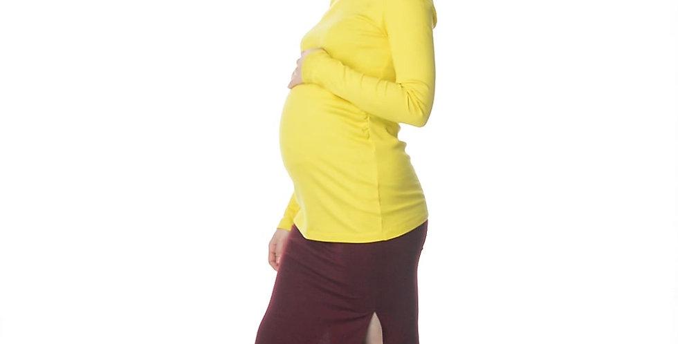 Юбка бордо для беременных с разрезами по бокам