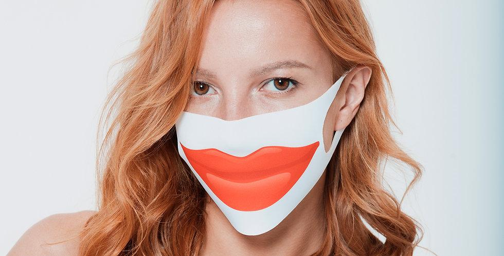 Маска на лицо с принтом красных губ