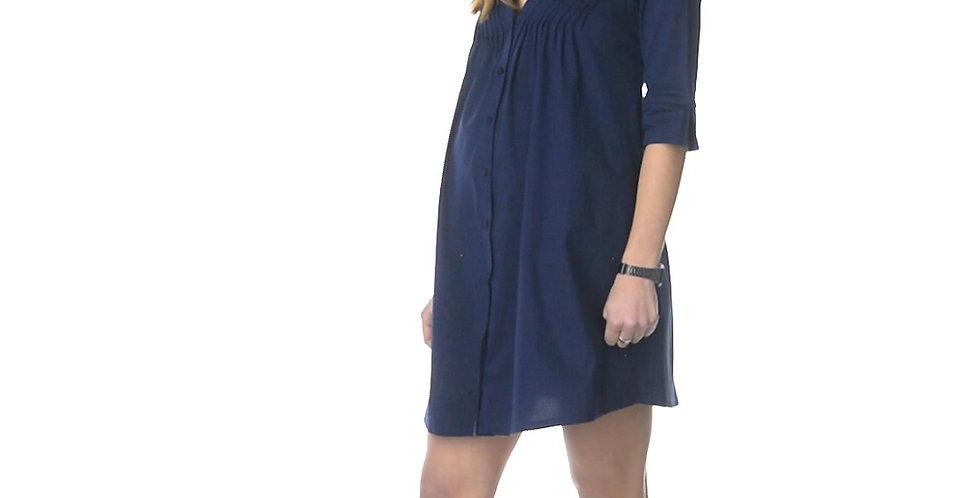 Синее легкое платье со сборкой на груди на пуговицах