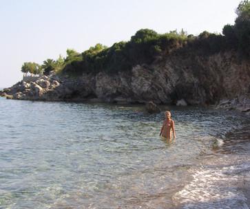 swimming near the villas