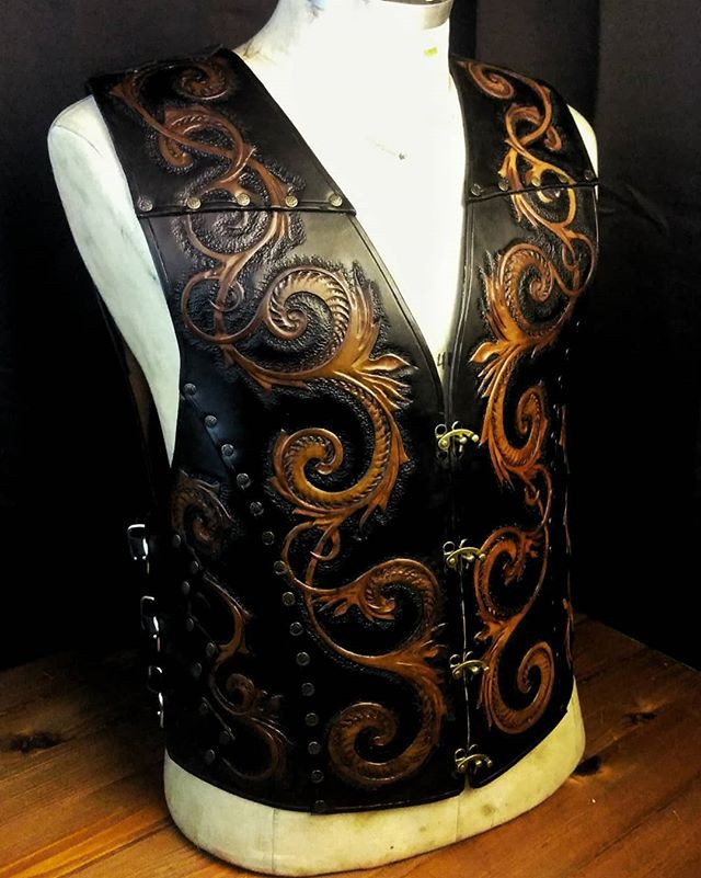 Leather vest.__Oiled and waxed veg tanne