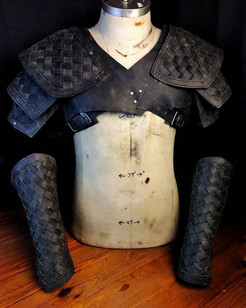 Woven leather pauldron and bracer.__Leat