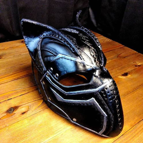 Tactical kitty helm__#armor #larp #leath