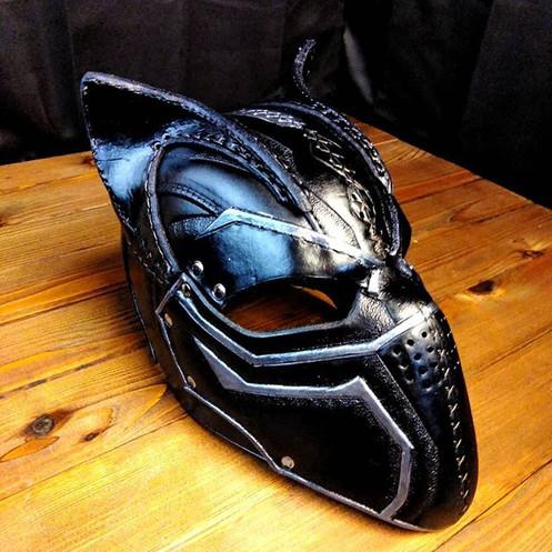 Tactical kitty helm__#armor #larp #leath