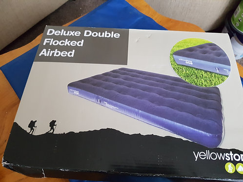 Luxury Flock double inflatable Mattress, Blue still in package. NEW