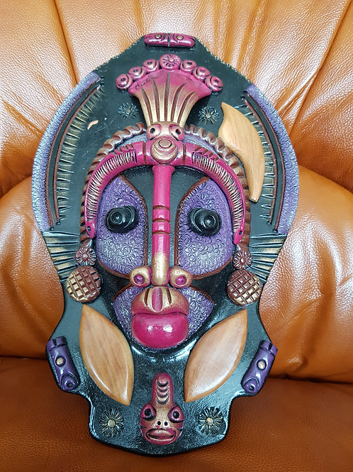 Fantastic Large Heavy Colourful Pottery Cuban Wall Mask