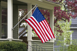 An American flag out in the spring time