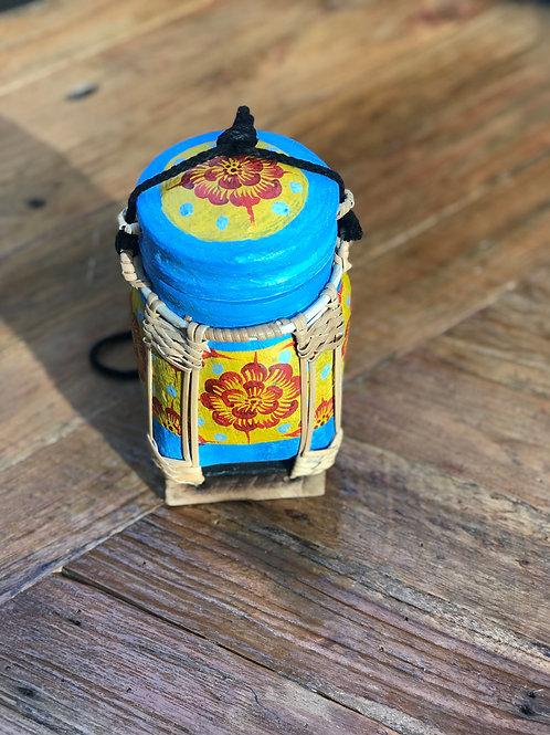 """Boîte à Thé bambou """"bleue et jaune"""""""