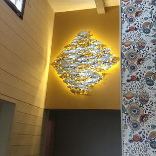 Décoration murale banc de poissons Dim. 120x120 cm