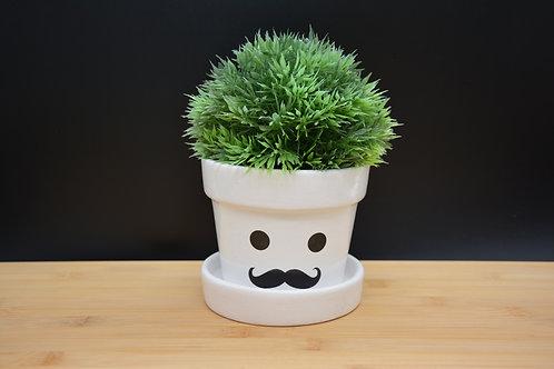 """Pot de Fleurs en terre cuite """"Mr Moustache"""""""