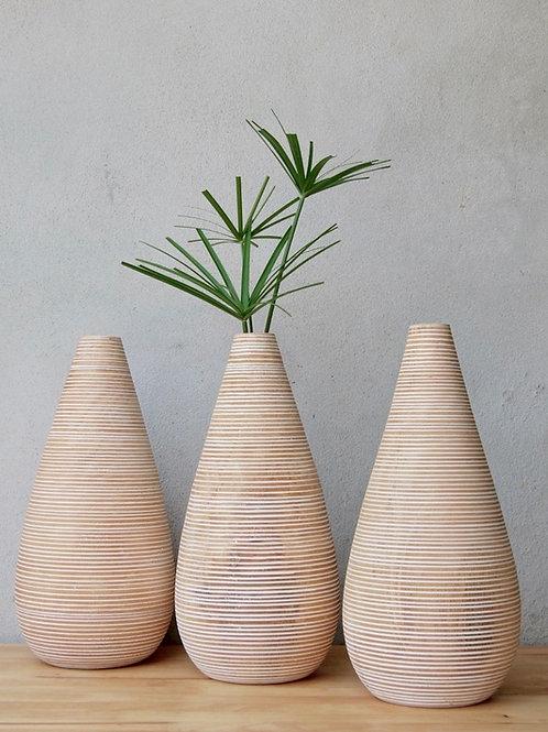 """Vase Obus en bois de manguier """"Blanc strié"""""""