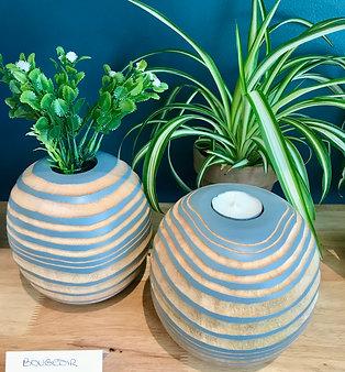 2 en 1 - Bougeoir/Vase en bois naturel