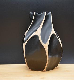 """Vase en bois de manguier """"Dentelé""""noir"""