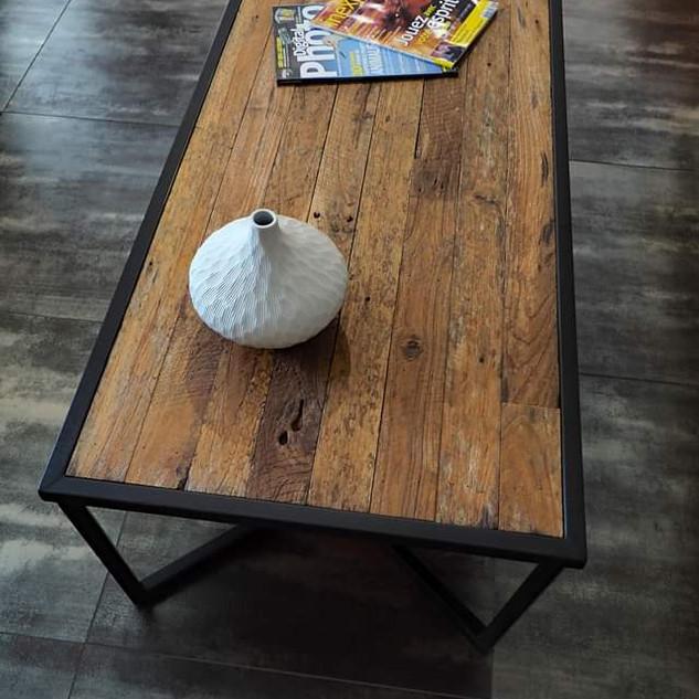 Table basse bois Teck et Métal