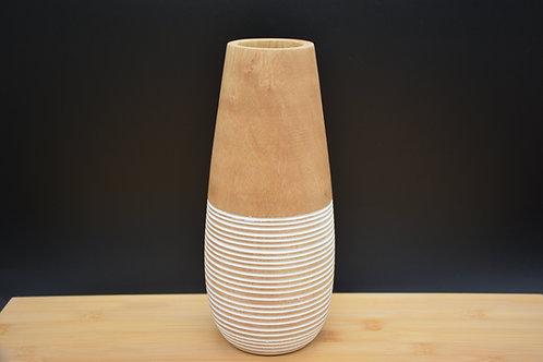 """Vase en bois de manguier """"Trio Strié blanc et bois naturel"""""""
