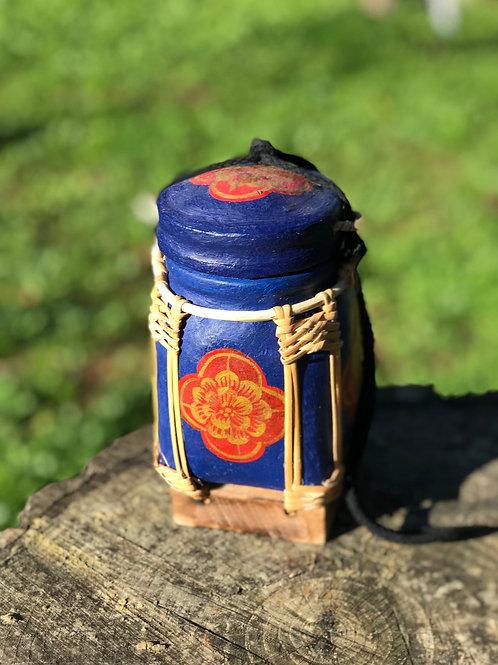 """Boîte à Thé bambou """"bleue fleur rouge"""""""