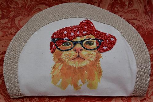 """Sac """"Chat à lunettes"""" rouge"""